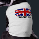 """Custom British Union Jack flag pet dog clothing<br><div class=""""desc"""">Custom British Union Jack flag pet dog clothing. Personalize with name,  monogram or funny quote. Cute doggy tank top shirt. Clothes for your pets. English pride. UK United Kingdom GB Great Britain. England. Fun animal accessory.</div>"""