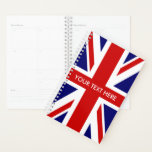 "Custom British Union Jack flag Planner<br><div class=""desc"">Custom British Union Jack flag weekly monthly spiral planner. Personalized weekly / month agenda. Make your own funny cover with this patriotic template design. Fun English theme Birthday gift idea for friends, family, coworker, boss, colleague, school teacher, company manager etc. Office humor presents for him or her. UK flag of...</div>"