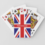 "Custom British Union Jack flag playing cards<br><div class=""desc"">Custom British Union Jack flag playing cards. English pride design with personalized name, monogram, funny quote or saying. Cute wedding party favor, travel item or Birthday gift idea for men women and kids. Fun accessory for poker player, black jack and other gambling games. England, UK United Kingdom, GB Great Britain....</div>"
