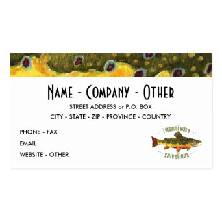 Custom Brook Trout Fishing Business Card Template