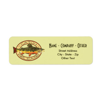 Custom Brook Trout Fly Fishing Catch & Release Label
