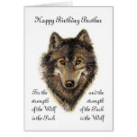 Custom Brother Birthday -Wolf and Pack Quote Greeting Card