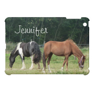 Custom brown and black and white horse walking cover for the iPad mini