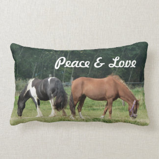 Custom brown and black and white horse walking pillows