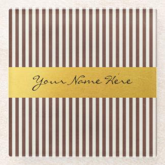 Custom Brown & Cream Vertical Textured Stripes Glass Coaster