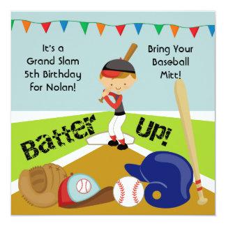 Custom Brown Hair Boy Baseball Birthday Invitation