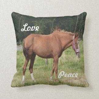 Custom brown horse walking in field eating grass pillows