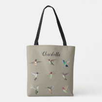 Custom Brown North American Hummingbirds Tote Bag