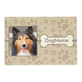 Custom Brown Paw Prints Dog Mat