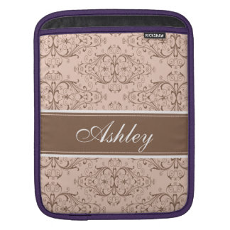 Custom brown pink and gray damask label design sleeves for iPads