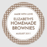 Custom Brown Polka Dot Canning Stickers / Labels