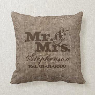 Custom Brown Rustic Burlap-Look Wedding Keepsake Throw Pillow