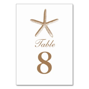 Beach Themed Custom Brown Starfish Beach Wedding Table Numbers