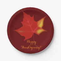 Custom Brown Thanksgiving Paper Plates Fall Leaf 7 Inch Paper Plate