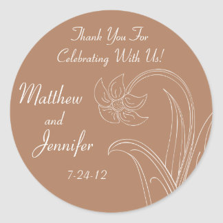 Custom Brown Wedding Favor Labels or Gift Tags