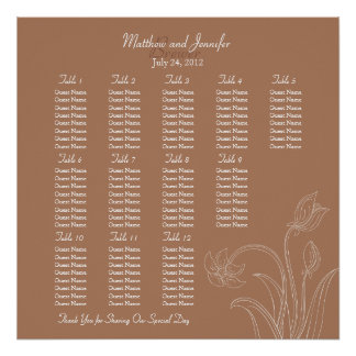 Custom Brown Wedding Reception Seating Chart Posters