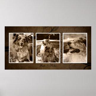 Custom Browntone Triple Photo Fine Art Print