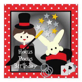 """Custom Brunette Boy Hocus Pocus Birthday Invites 5.25"""" Square Invitation Card"""