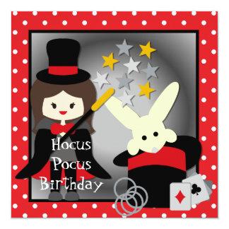 """Custom Brunette Girl Hocus Pocus Birthday Invites 5.25"""" Square Invitation Card"""