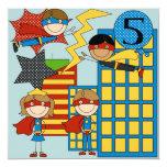 "Custom Brunette Girl Super Hero Birthday Invites 5.25"" Square Invitation Card"