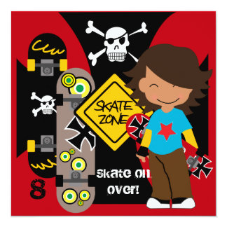 Custom Brunette Skateboarding Birthday Invitation
