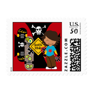 Custom Brunette Skateboarding Postage Stamps