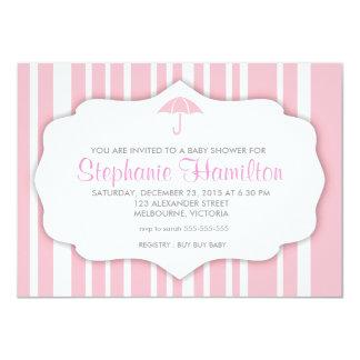 Custom bubble gum stripes baby girl shower invites