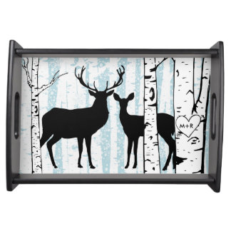 Custom Buck and Doe Deer Birch Serving Tray