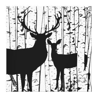Custom Buck and Doe Deer Birch  Wrapped Canvas