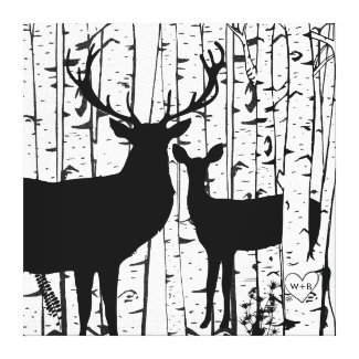 Custom Buck and Doe in Birch Forest Wrapped Canvas Stretched Canvas Prints