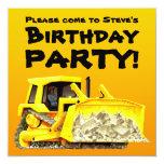 Custom Bulldozer Party Invitations