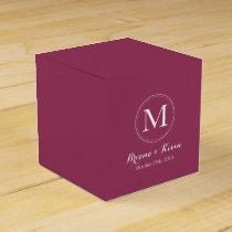 Custom Burgundy Colored Monogram Favor Boxes