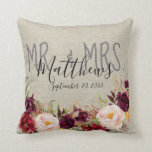 """Custom Burgundy Floral Mr and Mrs Wedding Keepsake Throw Pillow<br><div class=""""desc"""">Personalized rustic wedding keepsake pillow with burgundy floral watercolor design, gray Mr. & Mrs. hand lettered script with married last name and wedding date in black script font typography overlay printed on a printed beige linen background. Makes a great wedding gift for newlyweds or engagement gift. Great for your bedroom,...</div>"""