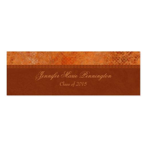 Custom burnt orange vintage graduation name card business cards ...