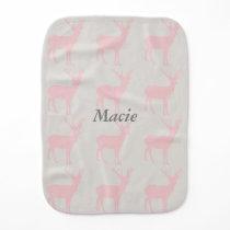 Custom Burp Bib with Grey Hearts and Pink Deer