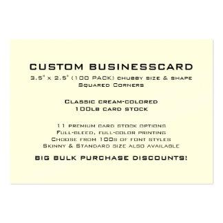 "Custom Business Card 3.5"" x 2.5"" CREAM Finish"