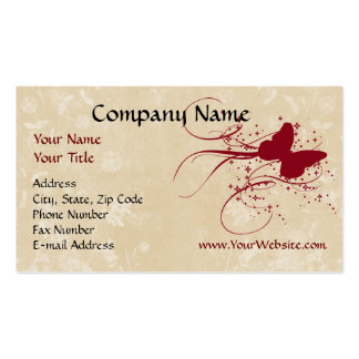 Custom Business Card, Red Cream Butterfly Design Business Card