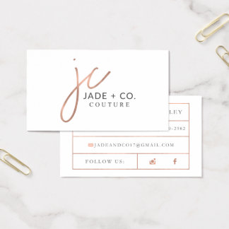 Custom Business Cards: Jade + Co Business Card