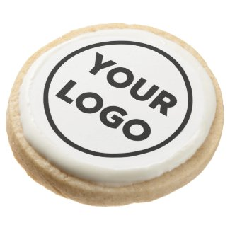 Custom Business Company Logo Branded Round Shortbread Cookie
