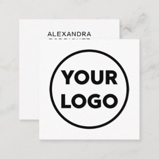 Custom Business Company Logo Long Name Minimal Square Business Card