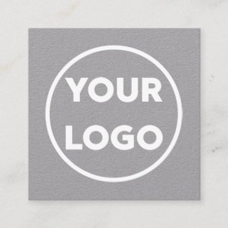 Custom Business Company Logo Minimal Grey Square Business Card