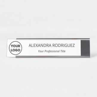 Custom Business Company Logo Name Job Title Desk Name Plate