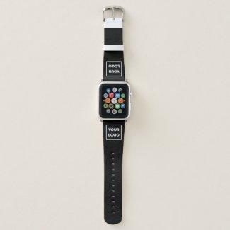 Custom Business Company Logo on Black Apple Watch Band