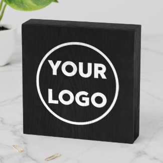 Custom Business Company Logo on Black Promotional Wooden Box Sign