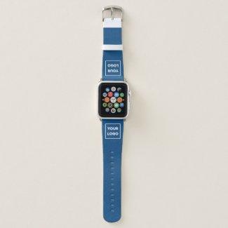 Custom Business Company Logo on Blue Apple Watch Band