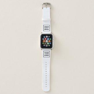 Custom Business Company Logo on White Apple Watch Band