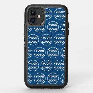 Custom Business Company Logo Pattern on Blue OtterBox iPhone Case
