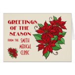 Custom Business Holiday Cards With Poinsettias