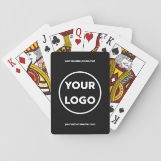 Custom Business Logo and Company Website Black Playing Cards