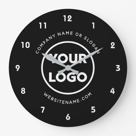 Custom Business Logo and Text Black Background Large Clock